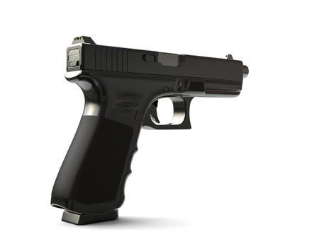 Black modern semi automatic handgun Stock Photo