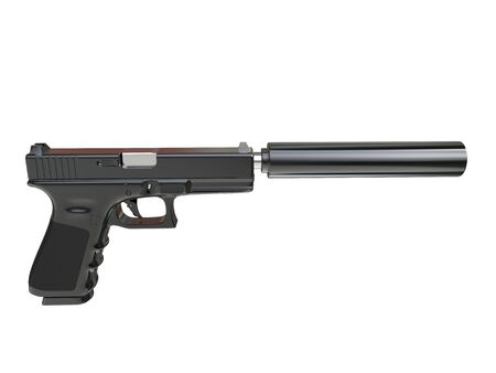 Semi - automatic modern tactical handgun with silencer - side view