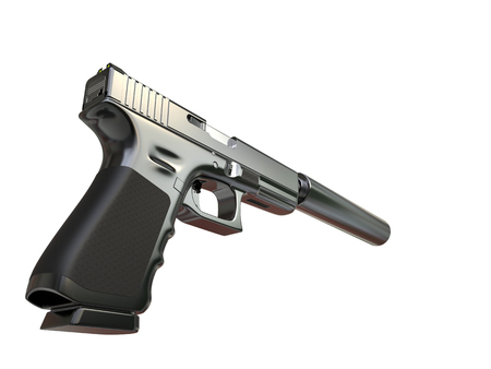 Semi - automatic modern tactical handgun with silencer - low angle shot