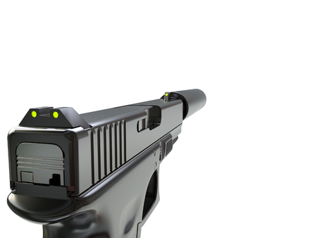 Semi - automatic modern tactical handgun with silencer - first person view Stock Photo