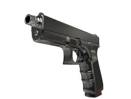 Modern tactical black metal handgun