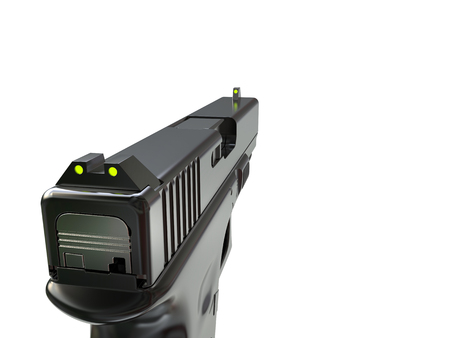 Semi - automatic modern tactical handgun - first person view