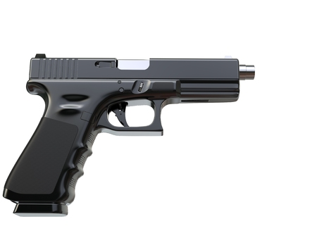 Black modern semi automatic handgun - side view