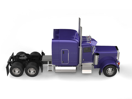 Purple semi trailer big long haul truck