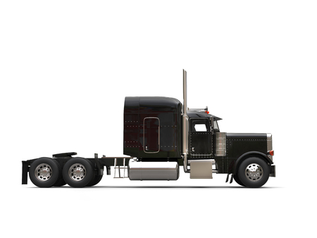 Black 18 wheeler truck - no trailer - side view Stock Photo - 91110605