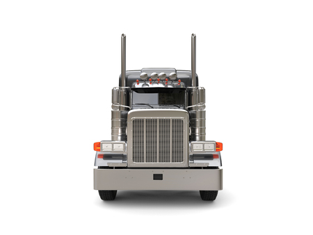 Heavy duty dark gray big truck - front view Stock Photo