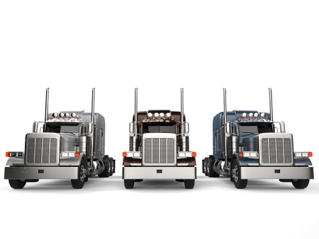 Classic eighteen wheeler trucks in metallic colors