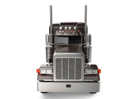 Bruine vrachtwagen met 18 wielen - geen trailer - vooraanzicht Stockfoto