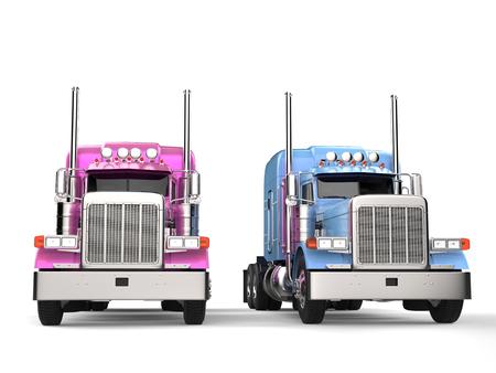 Roze en blauwe moderne grote vrachtwagens met oplegger - zij aan zij Stockfoto