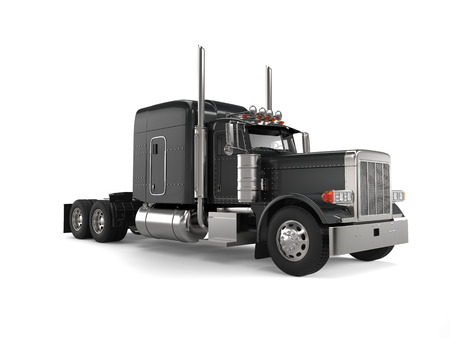 Black long haul semi - trailer big truck