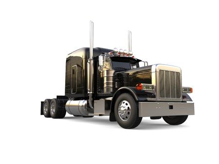 검은 색 장거리 세미 트레일러 대형 트럭 - 낮은 각도 촬영