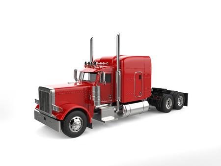 Raging red classic 18 wheeler big truck - studio lighting shot Stock Photo