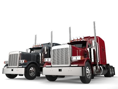 Klassieke achttien wheeler trucks in metallic grijs en rode kleuren