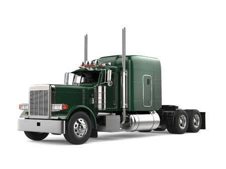 Jungle green big semi - trailer truck