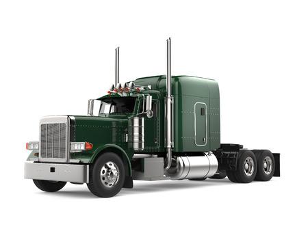 Camión semi remolque grande verde selva