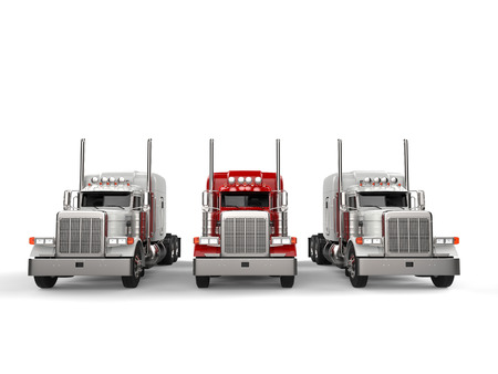 Red 18 wheeler truck in between two white trucks