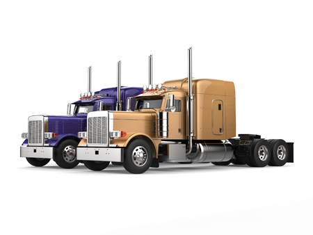 Purple and gold big semi - trailer trucks - side by side Stock Photo