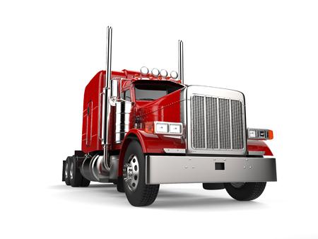 Raging red classic 18 wheeler big truck - low angle closeup shot