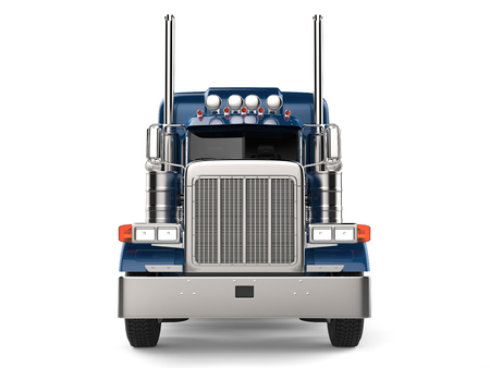 Dark blue semi - trailer truck - front view