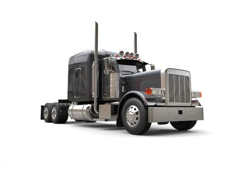 Grote oplegger donkergrijze vrachtwagen