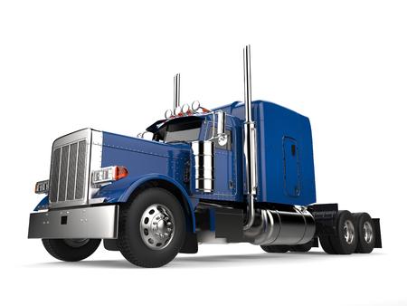 Blue 18 wheeler truck - no trailer - low angle shot Banque d'images