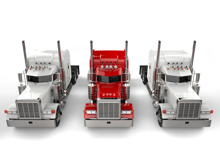 Red 18 wheeler truck in between two white trucks - top down view Stock fotó