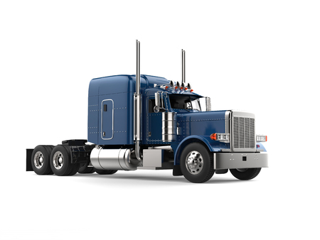 Dark blue semi - trailer truck