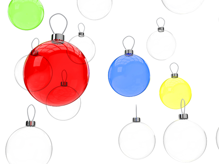 colorful christmas balls stand out among clear glass christmas balls stock photo 91259836