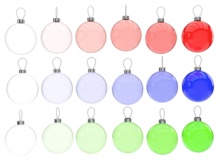 Glass Christmas balls in all shades of blue, red and green