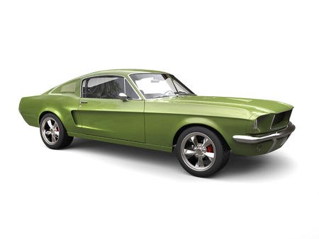 Great American vintage muscle car - bright army green Stock Photo