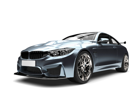Shimmering blue metallic modern super sports car  Фото со стока