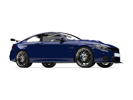 Dark imperial blue modern sports car - low angle shot