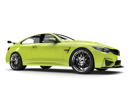Electric green modern luxury sports car - low angle beauty shot