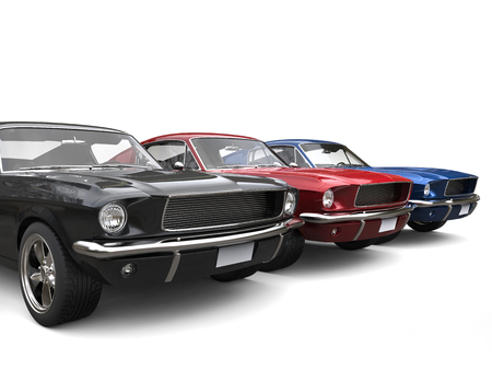 Beautiful restored vintage American muscle cars  Stock Photo