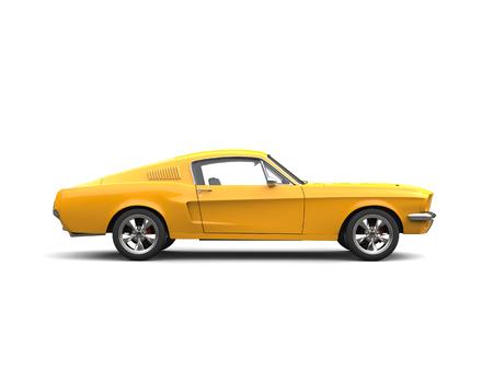 輝く黄色のアメリカのヴィンテージマッスルカー - サイドビュー