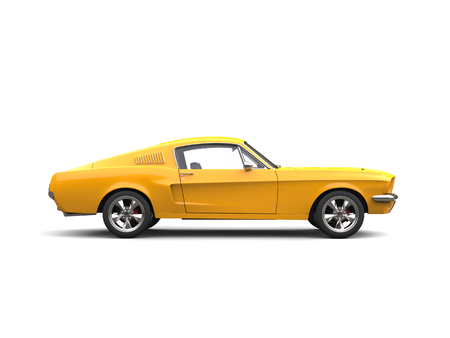 Shining yellow American vintage muscle car - side view