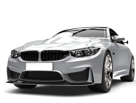 Super silver modern sports car - closeup shot