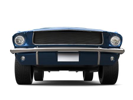 Subtle blue - American vintage muscle car - front view low angle closeup shot