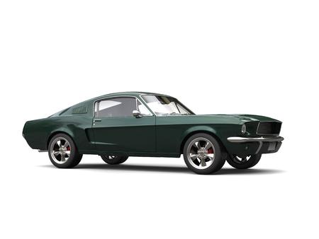 Jungle green American vintage muscle car - beauty shot