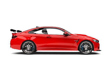 Crimson red modern sport racing car - side view