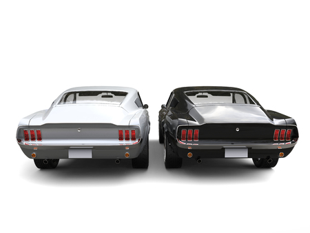 Sublime metallic silver and black American vintage cars - back view