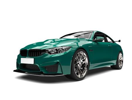 Dark spring green modern luxury sports car