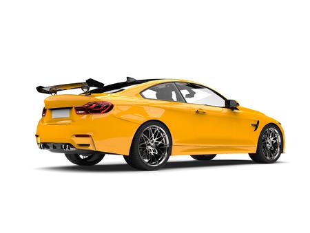 Cyber Yellow modern sports race car - rear view