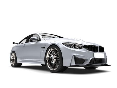 Metallic white modern luxury sports car - beauty closeup shot