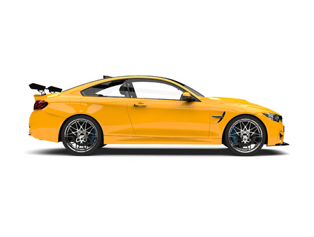 Cyber Yellow modern sports race car - side view 스톡 콘텐츠