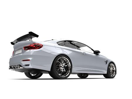 Metallic white modern luxury sports car - low angle back shot