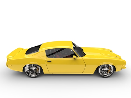 Daffodil yellow vintage American car - side view