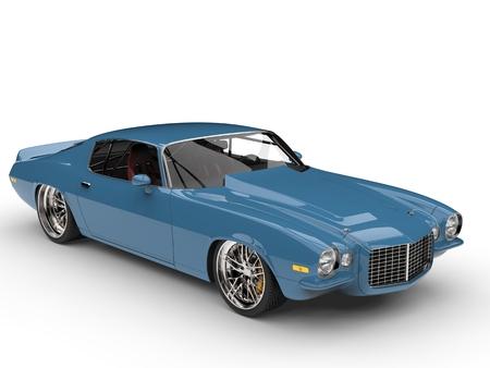 Old school blue classic vintage American car 스톡 콘텐츠