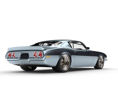 Shimmering metallic blue American vintage car - tail view 스톡 콘텐츠