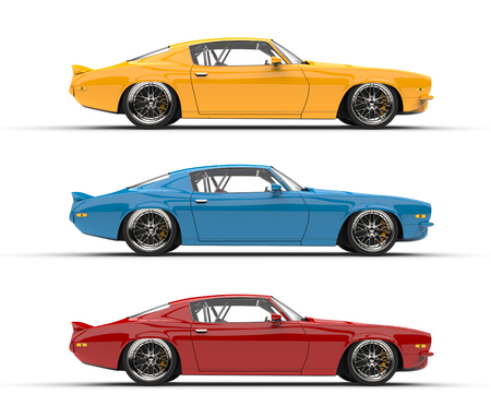 Classic vintage American cars in red, blue and yellow colors - side view Stock Photo